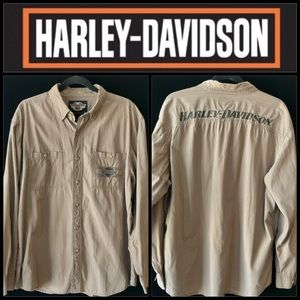 🔥Harley-Davidson Brown/Gray Striped Button-down